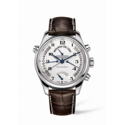 Longines L2.716.4.78.5 : Master Collection 44 Retrograde Power Reserve Stainless Steel / Silver-Arabic / Alligator XL