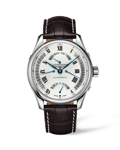 Longines L2.717.4.71.3 : Master Collection 44 Retrograde Stainless Steel / Silver-Roman / Alligator