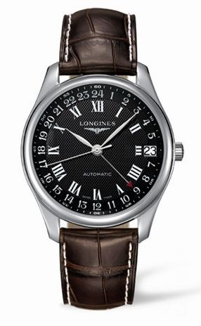Longines L2.718.4.51.5 : Master Collection 42 24h Stainless Steel / Black-Roman / Alligator