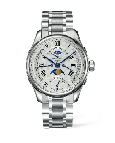 Longines L2.739.4.71.6 : Master Collection 44 Retrograde Moonphase Stainless Steel / Silver-Roman / Bracelet