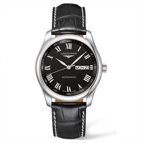 Longines L2.755.4.51.7 : Master Collection 38.5 Day Date Stainless Steel / Black-Roman / Alligator