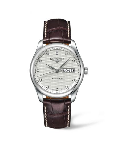 Longines L2.755.4.77.3 : Master Collection 38.5 Day Date Stainless Steel / Silver-Diamond / Alligator