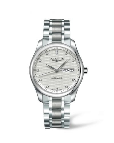 Longines L2.755.4.77.6 : Master Collection 38.5 Day Date Stainless Steel / Silver-Diamond / Bracelet