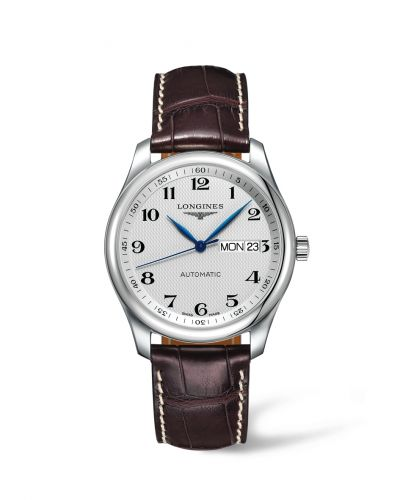 Longines L2.755.4.78.3 : Master Collection 38.5 Day Date Stainless Steel / Silver-Arabic / Alligator