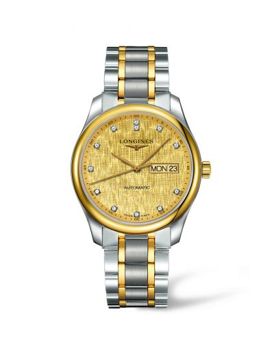Longines L2.755.5.38.7 : Master Collection 38.5 Day Date Stainless Steel / Yellow Gold / Champagne-Linen / Bracelet