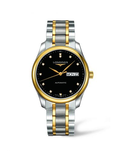 Longines L2.755.5.57.7 : Master Collection 38.5 Day Date Stainless Steel / Yellow Gold / Black-Diamond / Bracelet