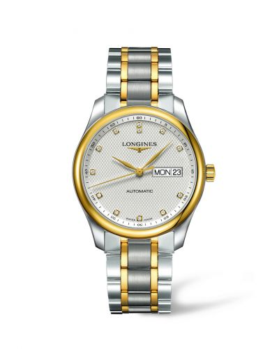 Longines L2.755.5.77.7 : Master Collection 38.5 Day-Date Stainless Steel / Yellow Gold / Silver-Diamond / Bracelet