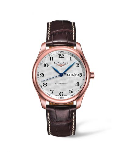 Longines L2.755.8.78.3 : Master Collection 38.5  Day Date Pink Gold / Silver-Arabic / Alligator