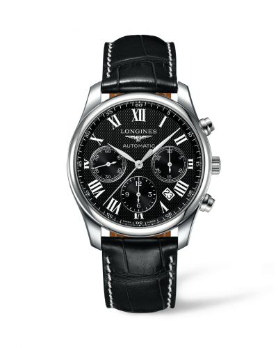 Longines L2.759.4.51.7 : Master Collection 42 Chronograph Stainless Steel / Black-Roman / Alligator