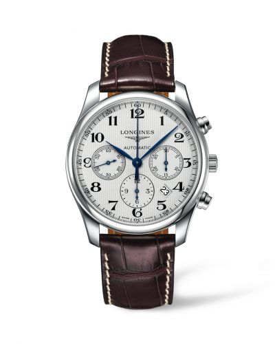 Longines L2.759.4.78.3 : Master Collection 42 Chronograph Stainless Steel / Silver-Arabic / Alligator