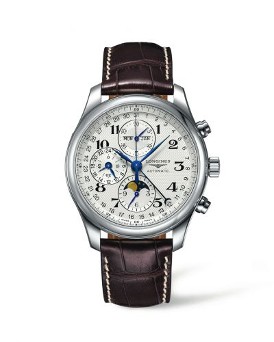 Longines L2.773.4.78.3 : Master Collection 42 Chronograph Calendar Stainless Steel / Silver-Arabic / Alligator