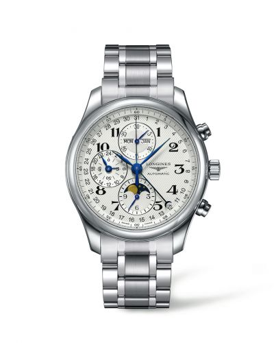 Longines L2.773.4.78.6 : Master Collection 42 Chronograph Calendar Stainless Steel / Silver-Arabic / Bracelet