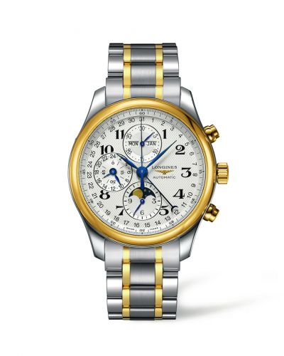 Longines L2.773.5.78.7 : Master Collection 42 Chronograph Calendar Stainless Steel / Yellow Gold / Silver-Arabic / Bracelet