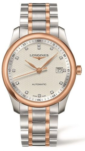 Longines L2.793.5.77.7 : Master Collection 40 Date Stainless Steel / Pink Gold / Silver-Diamond / Bracelet