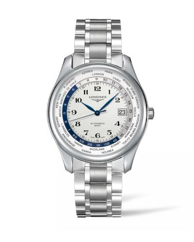Longines L2.802.4.70.6 : Master Collection 42 World Time Stainless Steel / Silver-Arabic / Bracelet