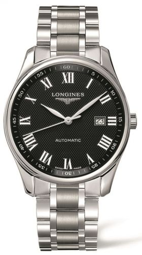Longines L2.893.4.51.6 : Master Collection 42 Date Stainless Steel / Black Roman / Bracelet