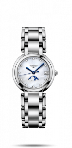 Longines L8.115.4.87.6 : PrimaLuna 30.5 Quartz Moonphase Stainless Steel / MOP-Diamond / Bracelet