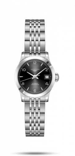 Longines L2.320.4.56.6 : Record 26mm Stainless Steel / Black-Arabic / Bracelet
