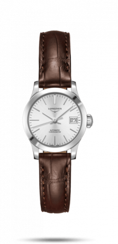 Longines L2.320.4.72.2 : Record 26mm Stainless Steel / Silver / Alligator
