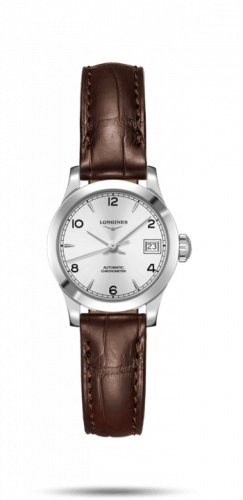 Longines L2.320.4.76.2 : Record 26mm Stainless Steel / Silver-Arabic / Alligator