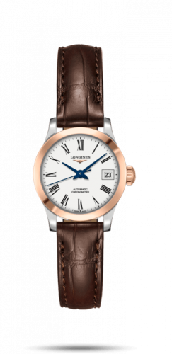 Longines L2.320.5.11.2 : Record 26mm Stainless Steel / Pink Gold / White-Roman / Alligator