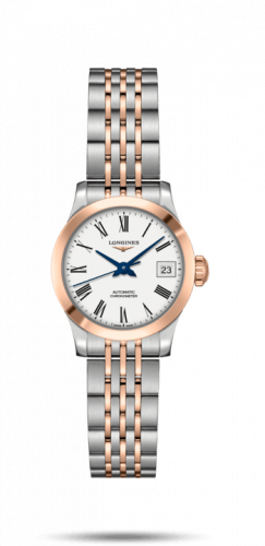 Longines L2.320.5.11.7 : Record 26mm Stainless Steel / Pink Gold / White-Roman / Bracelet