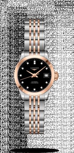 Longines L2.320.5.57.7 : Record 26mm Stainless Steel / Pink Gold / Black-Diamond / Bracelet