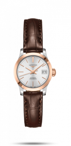 Longines L2.320.5.72.2 : Record 26mm Stainless Steel / Pink Gold / Silver / Alligator