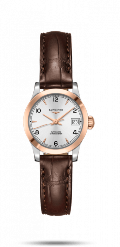 Longines L2.320.5.76.2 : Record 26mm Stainless Steel / Pink Gold / Silver-Arabic / Alligator