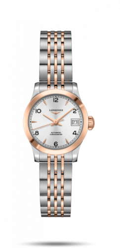 Longines L2.320.5.76.7 : Record 26mm Stainless Steel / Pink Gold / Silver-Arabic / Bracelet
