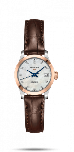 Longines L2.320.5.87.2 : Record 26mm Stainless Steel / Pink Gold / MOP-Diamond / Alligator