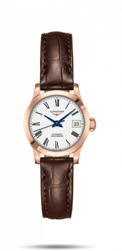 Longines L2.320.8.11.2 : Record 26mm Stainless Pink Gold / White-Roman / Alligator