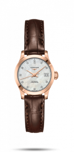 Longines L2.320.8.87.2 : Record 26mm Stainless Pink Gold / MOP-Diamond / Alligator