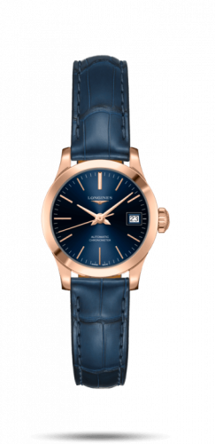 Longines L2.320.8.92.2 : Record 26mm Stainless Pink Gold / Blue / Alligator