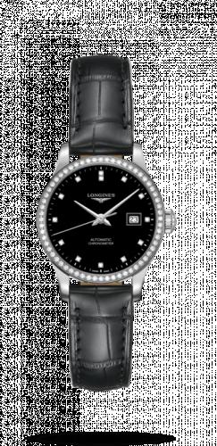 Longines L2.321.0.57.6 : Record 30mm Stainless Steel / Diamond / Black-Diamond / Bracelet