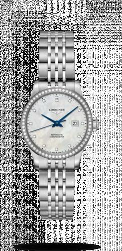 Longines L2.321.0.87.6 : Record 30mm Stainless Steel / Diamond / MOP-Diamond / Bracelet