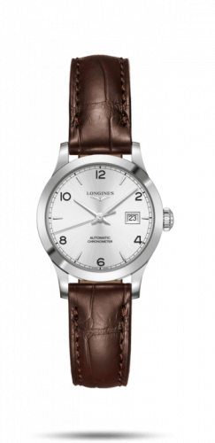 Longines L2.321.4.76.2 : Record 30mm Stainless Steel / Silver-Arabic / Alligator