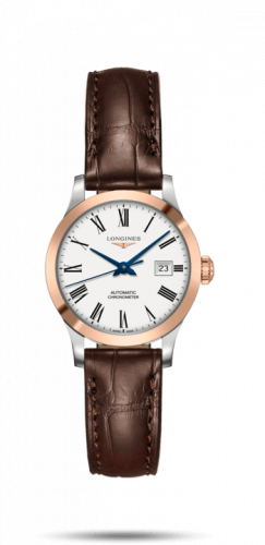 Longines L2.321.5.11.2 : Record 30mm Stainless Steel / Pink Gold / White-Roman / Alligator
