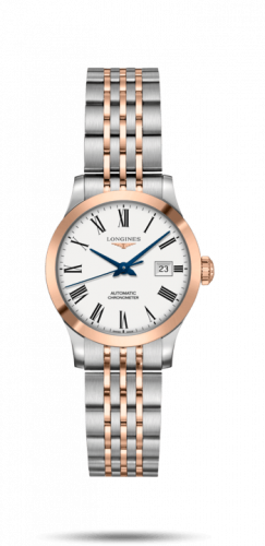 Longines L2.321.5.11.7 : Record 30mm Stainless Steel / Pink Gold / White-Roman / Bracelet