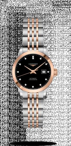 Longines L2.321.5.57.7 : Record 30mm Stainless Steel / Pink Gold / Black-Diamond / Bracelet
