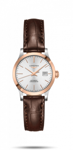 Longines L2.321.5.72.2 : Record 30mm Stainless Steel / Pink Gold / Silver / Alligator