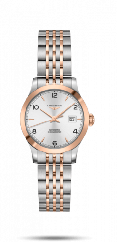 Longines L2.321.5.76.7 : Record 30mm Stainless Steel / Pink Gold / Silver-Arabic / Bracelet