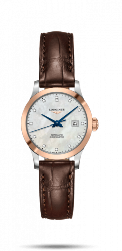 Longines L2.321.5.87.2 : Record 30mm Stainless Steel / Pink Gold / MOP-Diamond / Alligator