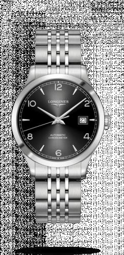 Longines L2.820.4.56.6 : Record 38.5mm Stainless Steel / Black Arabic / Bracelet