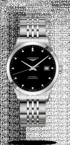 Longines L2.820.4.57.6 : Record 38.5mm Stainless Steel / Black-Diamond / Bracelet