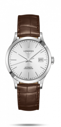 Longines L2.820.4.72.2 : Record 38.5mm Stainless Steel / Silver / Alligator