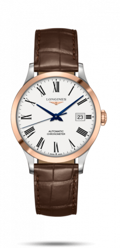 L2.820.5.11.2 : Longines Record 38.5mm Stainless Steel / Pink Gold / White-Roman / Alligator
