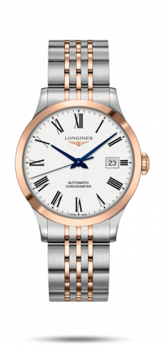 Longines L2.820.5.11.7 : Record 38.5mm Stainless Steel / Pink Gold / White-Roman / Bracelet