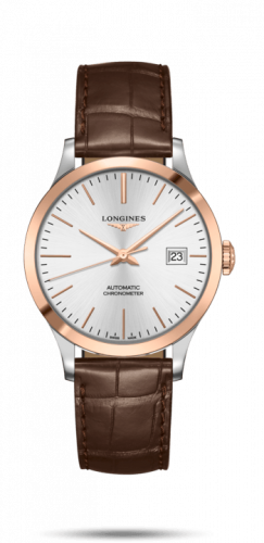 Longines L2.820.5.72.2 : Record 38.5mm Stainless Steel / Pink Gold / Silver / Alligator