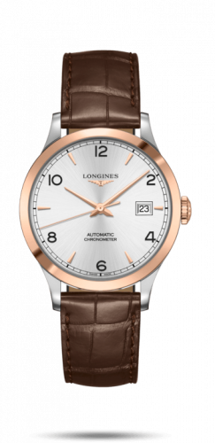 Longines L2.820.5.76.2 : Record 38.5mm Stainless Steel / Pink Gold / Silver-Arabic / Alligator